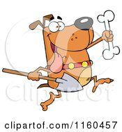 Cartoon Of An Excited Dog Running With A Shovel To Bury A Bone Royalty Free Vector Clipart