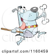 Cartoon Of An Excited Blue Dog Running With A Shovel To Bury A Bone Royalty Free Vector Clipart