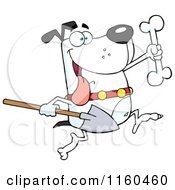 Cartoon Of An Excited White Dog Running With A Shovel To Bury A Bone Royalty Free Vector Clipart