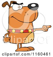Angry Brown Dog Standing And Pointing by Hit Toon