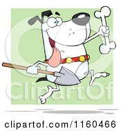 Cartoon Of An Excited White Dog Running With A Shovel To Bury A Bone Over Green Royalty Free Vector Clipart