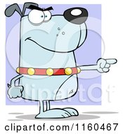 Cartoon Of An Angry Blue Dog Standing And Pointing Over Purple Royalty Free Vector Clipart