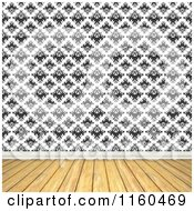 Clipart Of A Room With Wooden Floors And Vintage Black And White Wallpaper Royalty Free CGI Illustration