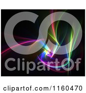 Clipart Of Colorful Fractal Lights On Black Royalty Free CGI Illustration