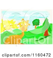 Clipart Of A Childs Drawing Of A Driveway Leading To A House Royalty Free Illustration