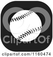 Clipart Of A Black And White Baseball Icon Royalty Free Vector Illustration by Johnny Sajem