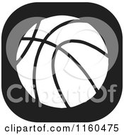 Clipart Of A Black And White Basketball Icon Royalty Free Vector Illustration by Johnny Sajem