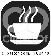 Clipart Of A Black And White Coffee Or Tea Icon Royalty Free Vector Illustration by Johnny Sajem