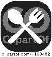 Clipart Of A Black And White Fork And Spoon Icon Royalty Free Vector Illustration by Johnny Sajem