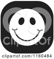 Cartoon Of A Black And White Emoticon Smiley Icon Royalty Free Vector Clipart by Johnny Sajem