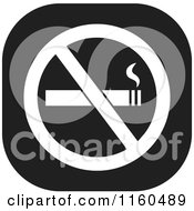 Clipart Of A Black And White No Smoking Icon Royalty Free Vector Illustration by Johnny Sajem