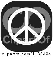 Clipart Of A Black And White Peace Symbol Icon Royalty Free Vector Illustration by Johnny Sajem