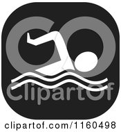 Clipart Of A Black And White Swim Icon Royalty Free Vector Illustration by Johnny Sajem