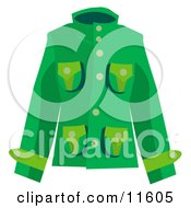 Womans Green Coat Clipart Picture