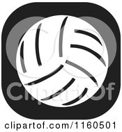 Clipart Of A Black And White Volleyball Icon Royalty Free Vector Illustration by Johnny Sajem