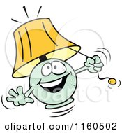 Cartoon Of A Green Lamp Mascot Pulling Its String Royalty Free Vector Clipart