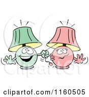 Cartoon Of A Green Lamp Mascot Pulling On A Pink Lamps String You Light Up My Life Royalty Free Vector Clipart