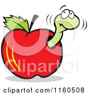 Cartoon Of A Nervous Worm Eating A Red Apple Royalty Free Vector Clipart