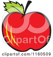 Cartoon Of A Red Apple Royalty Free Vector Clipart