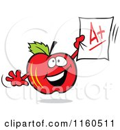 Red Apple Mascot Holding Up An A Plus Report