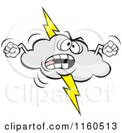 Cartoon Of An Angry Lightning Storm Cloud Mascot Waving Fists Royalty Free Vector Clipart by Johnny Sajem