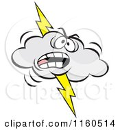 Cartoon Of An Angry Lightning Storm Cloud Mascot Royalty Free Vector Clipart