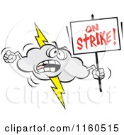 Cartoon Of A Lightning Cloud Mascot Holding An On Strike Sign Royalty Free Vector Clipart