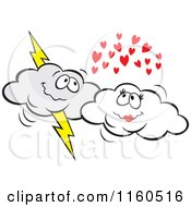 Cartoon Of A Lightning Cloud And Puffy Cloud Couple Royalty Free Vector Clipart