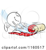 Cartoon Of A Moodie Character Rolling Out A Red Carpet Royalty Free Vector Clipart by Johnny Sajem