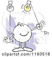 Cartoon Of A Moodie Character Turning On Highlights Royalty Free Vector Clipart