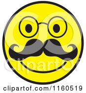 Happy Emoticon Smiley With A Mustache