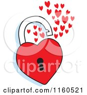 Cartoon Of An Open Red Heart Padlock Royalty Free Vector Clipart