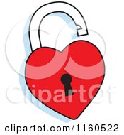 Cartoon Of A Red Heart Padlock Royalty Free Vector Clipart