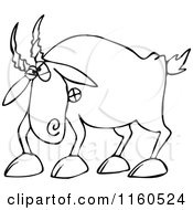Cartoon Of An Outlined Angry Goat Royalty Free Vector Clipart