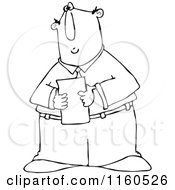 Cartoon Of An Outlined Businessman Reading A Memo Royalty Free Vector Clipart