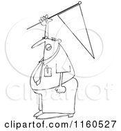 Cartoon Of An Outlined Businessman Holding Up A Pennant Flag Royalty Free Vector Clipart by djart