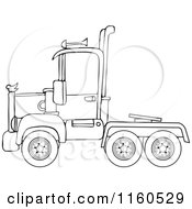 Cartoon Of An Outlined Big Rig Semi Truck Cab Royalty Free Vector Clipart by Dennis Cox