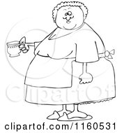 Cartoon Of An Outlined Chubby Lady Wearing An Apron And Holding A Tea Cup Royalty Free Vector Clipart