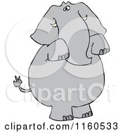 Cartoon Of An Elephant Standing And Begging Royalty Free Vector Clipart by djart
