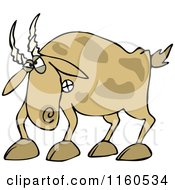 Cartoon Of An Angry Brown Goat Royalty Free Vector Clipart by djart