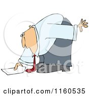 Caucasian Businessman Bending Over To Pick Up A Piece Of Paper