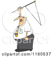 Cartoon Of A Caucasian Businessman Holding Up A Pennant Flag Royalty Free Vector Clipart by djart