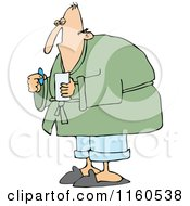 Cartoon Of A Sick Man Taking A Pill Royalty Free Vector Clipart