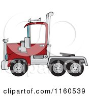 Cartoon Of A Red Big Rig Semi Truck Cab Royalty Free Vector Clipart by Dennis Cox