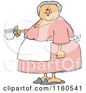 Cartoon Of A Chubby Lady Wearing An Apron And Holding A Tea Cup Royalty Free Vector Clipart