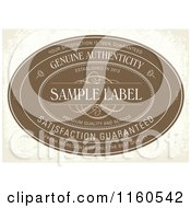 Vintage Distressed Brown Genuine Authenticity Label With Sample Text