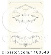 Clipart Of A Beige Vintage Wedding Invitation With Swirls Royalty Free Vector Illustration