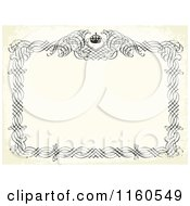 Clipart Of A Black And Beige Distressed Frame With Swirls And A Crown Around Copyspace Royalty Free Vector Illustration