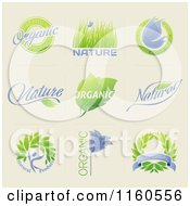 Green And Purple Organic And Natural Product Labels On Beige