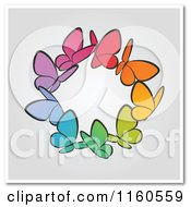 Clipart Of A Ring Of Colorful Butterflies With Copyspace Royalty Free Vector Illustration